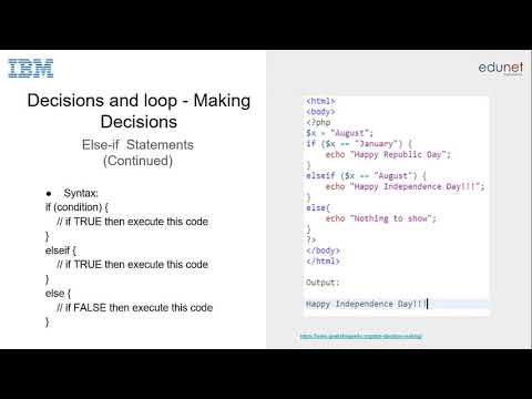 Creating Webpages using PHP Decision Making and Loop Statements